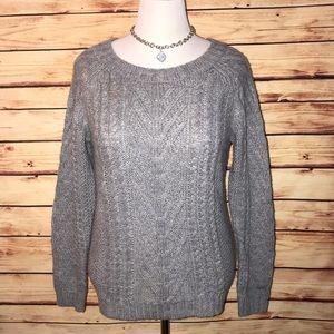 Joe Fresh Gray Chunky Cable Knit Sweater